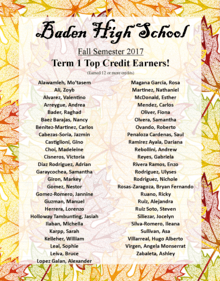Congratulations to Term 1 Top Credit Earners!